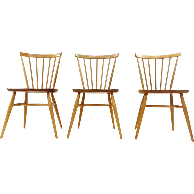 Set of 3 Vintage Ercol Model 449 Bow Back Dining Kitchen Chairs