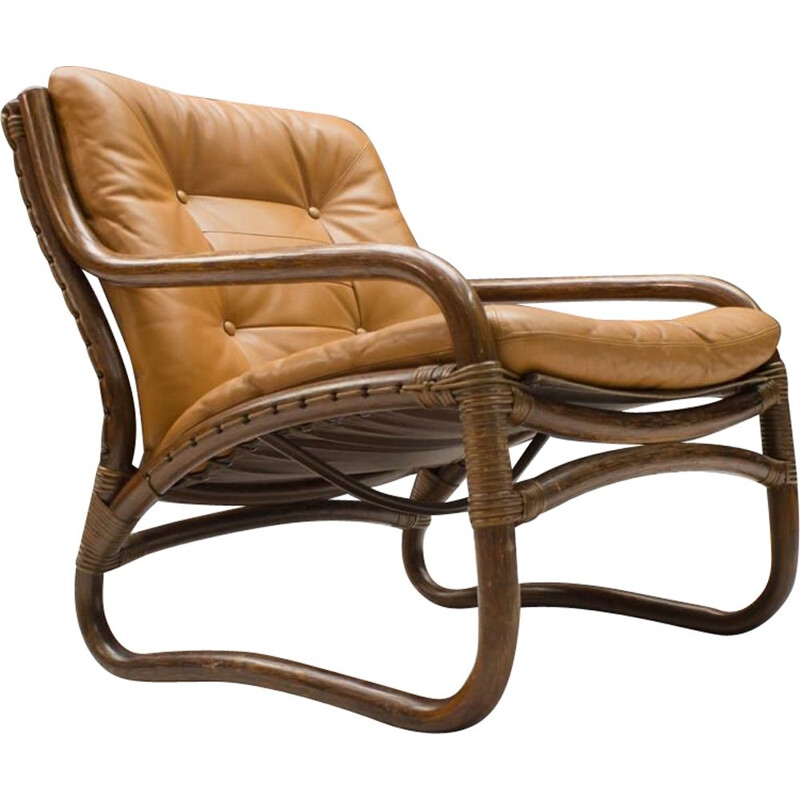 Vintage Bamboo, Rattan, and Leather Armchair,Italian 1960s