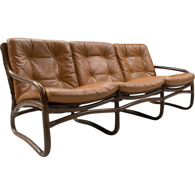 Vintage Bamboo, Rattan, and Leather 3-Seater Sofa, Italian 1960s
