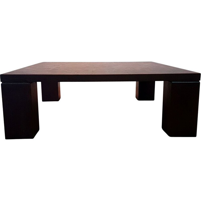 Vintage Brutalist wenge coffee table by Middelboe and Lindum for Tranekaer, Denmark 1960s