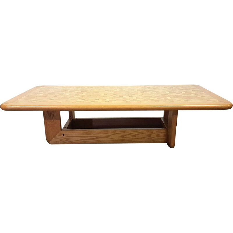 Vintage oak mosaic coffee table,Scandinavian  1960s