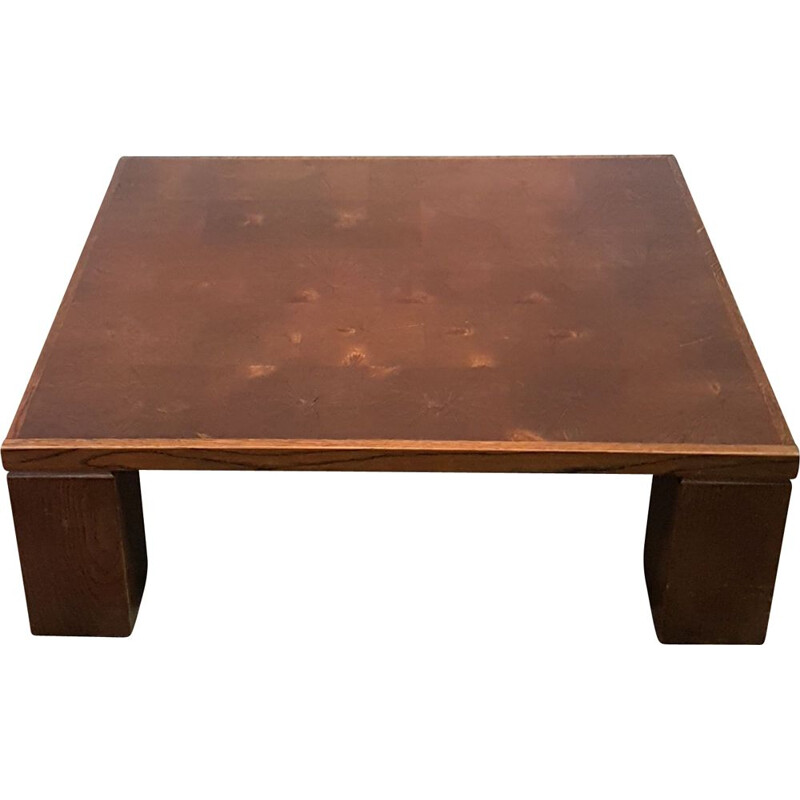 Vintage Oak brutalist coffee table by Middelboe and Lindum for Tranekaer, Denmark 1960s