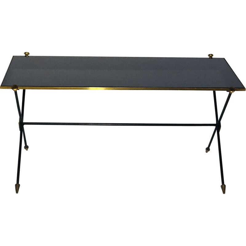 Vintage coffee table Metal and black opaline