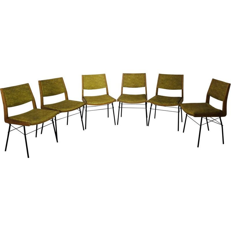 Suite of 6 vintage chairs in leatherette