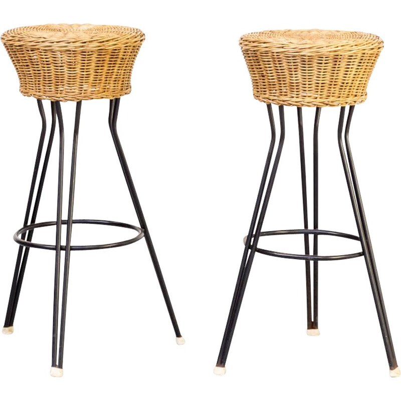Pair of Vintage Wicker stool for Rohe Noordwolde 1960s
