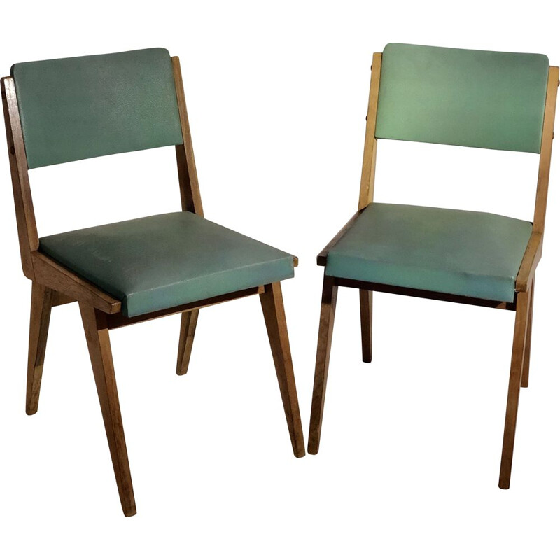 Pair of vintage chairs in leatherette and wood