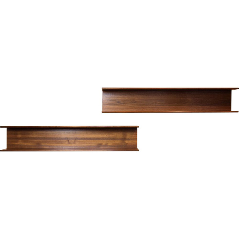 Midcentury pair of wall mount shelves in teak Danish 1960s