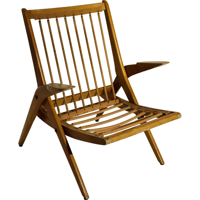Vintage wood armchair Scandinavian