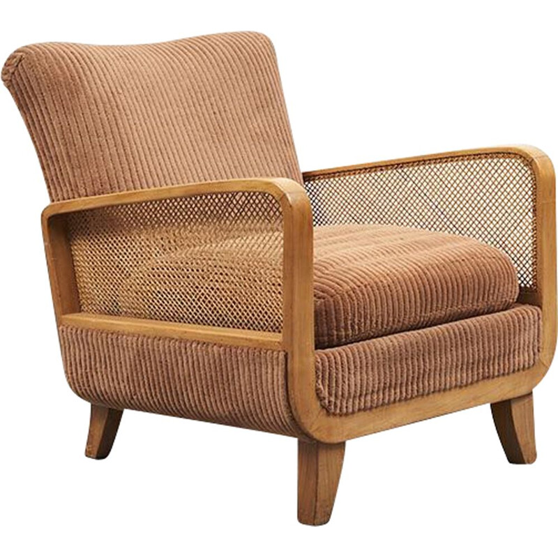 Vintage armchair canné Art Deco 1960