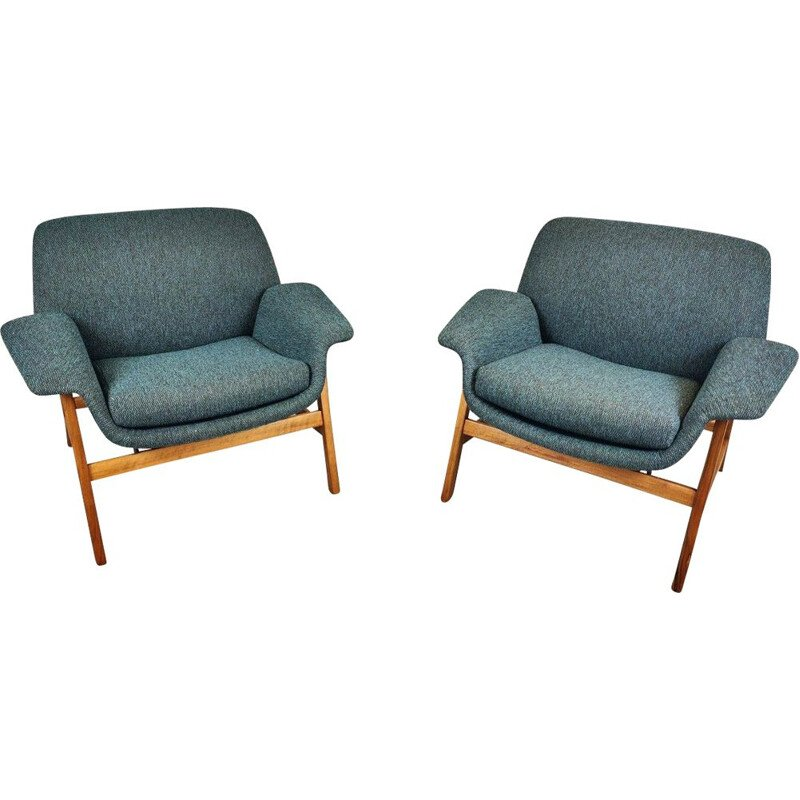 Pair Of Vintage Armchairs By Gianfranco Frattini, Italy 1960