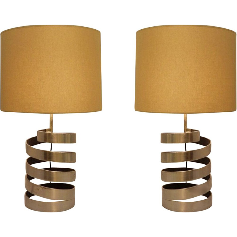 Pair of table lamps with vintage helical base in brushed steel by Jacques Charpentier, France 1970