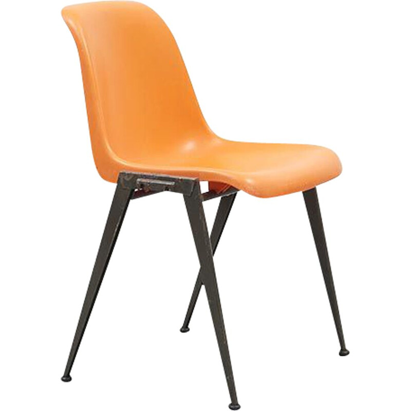 Vintage Presikhaaf Chairs in Orange plastic and Grey legs