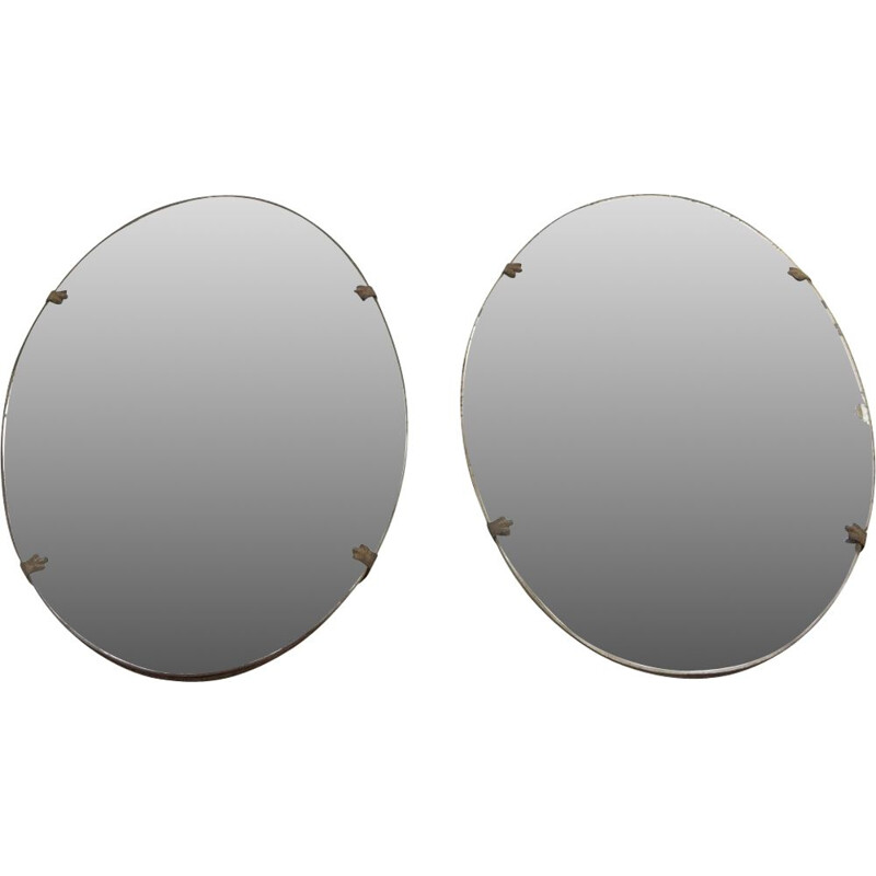 Pair of Vintage oval mirrors, Italian 1920s