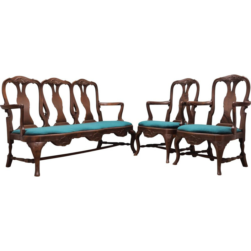 Vintage walnut wood living room set Chippendale 1970