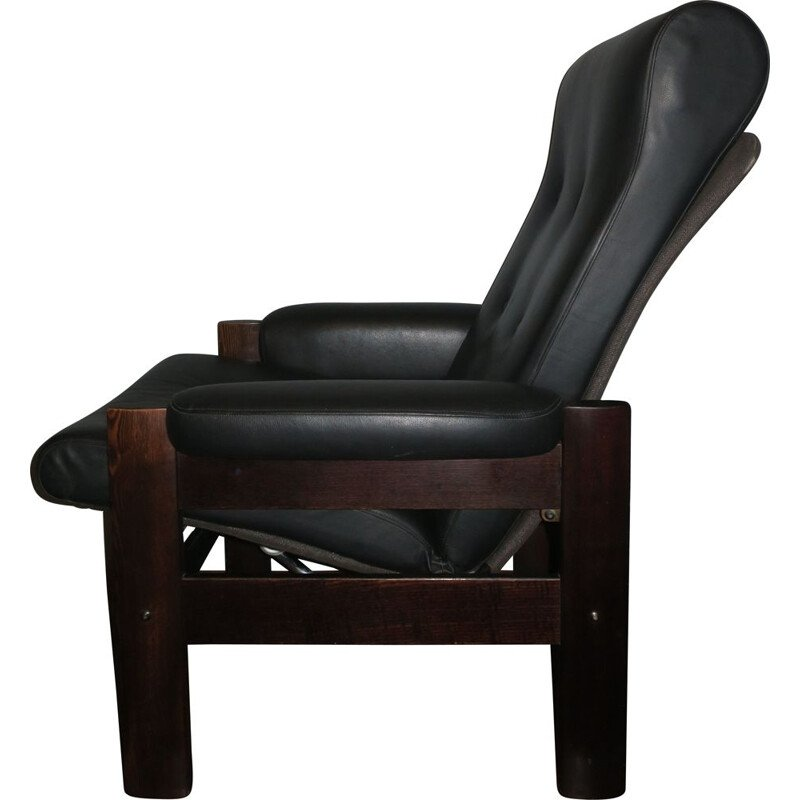 Vintage Black Leather Danish Recliner Chair