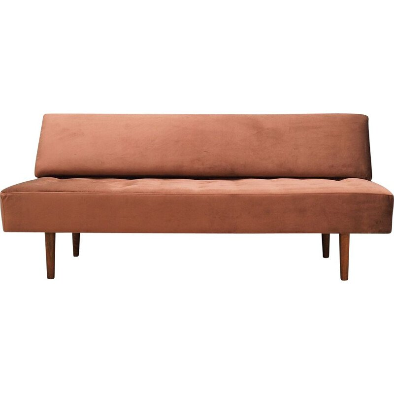 Vintage fabric sofa in brick Danish colour 1960