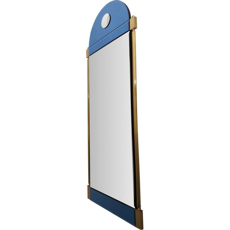 Large vintage brass mirror with blue & clear mirror glass by Schöninger, Neoclassical 1970s
