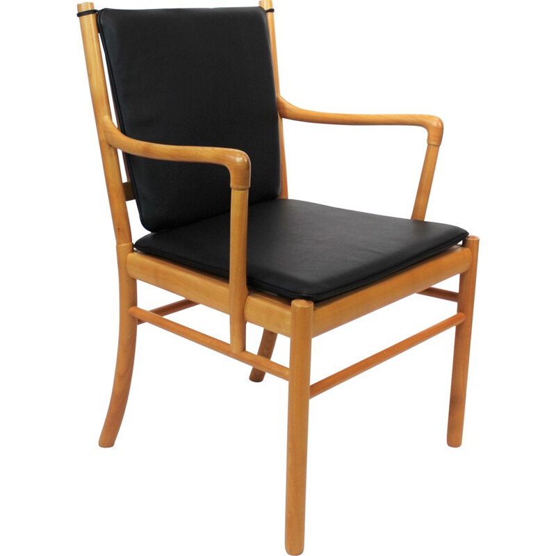 Vintage Armchair, model PJ-301, in cherry wood and with cushions of black leatherby Ole Wanscher and PJ Furniture 1960s