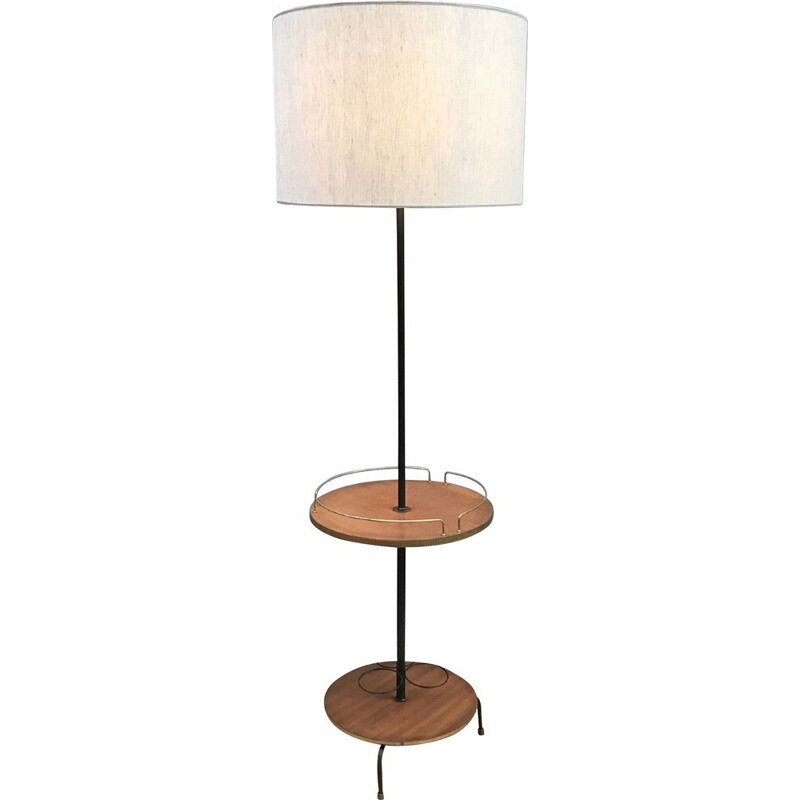 Vintage Teak and Golden Metal Bar Floor Lamp 1960