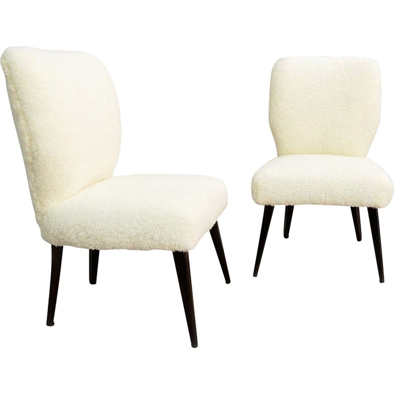 Pair Of Vintage Cocktail Chairs New Faux Fur Trimming