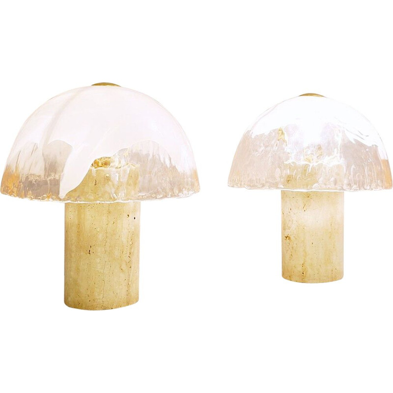 Pair of La Murrina Vintage Table Lamps in Murano Glass Travertine
