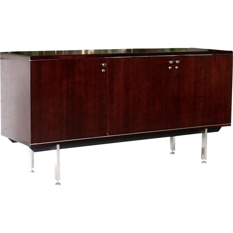 Vintage sideboard in solid wood and steel by Negroni France, 1970