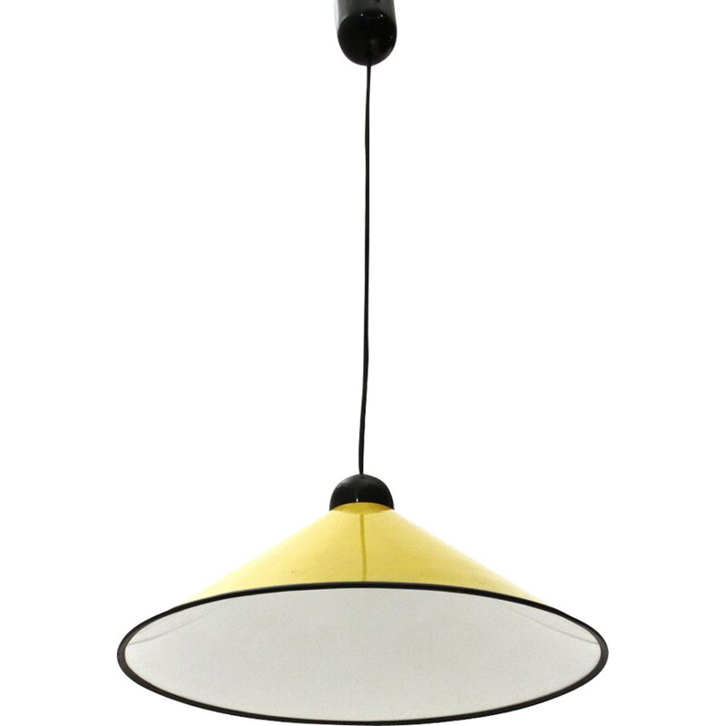 Vintage Yellow painted aluminum pendant lamp, 1950s