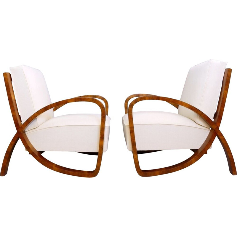 Pair of  Vintage Walnut Armchairs,Art Deco1930