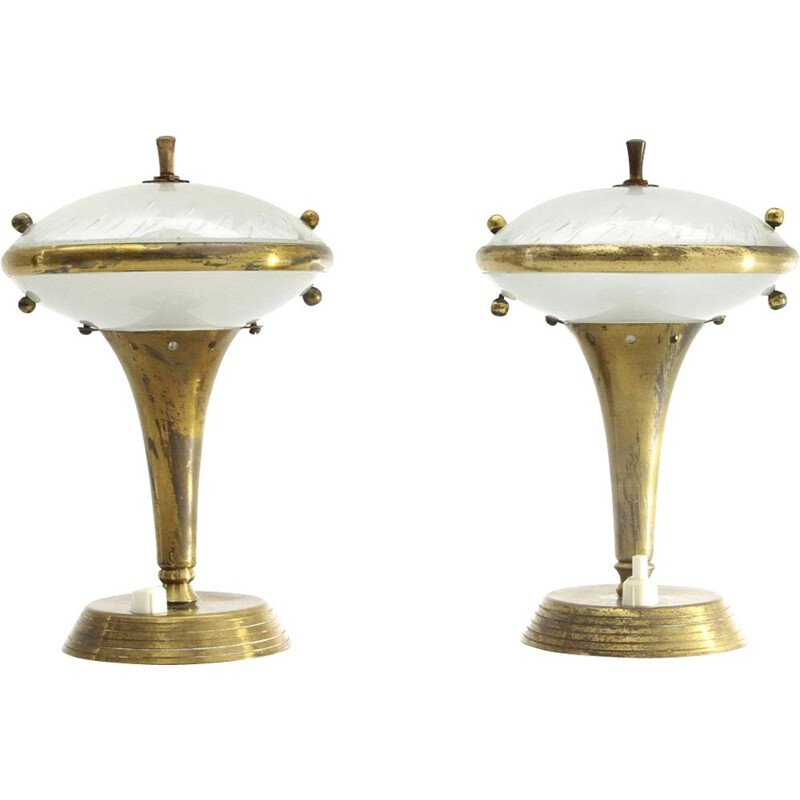 Pair of vintage brass and glass bedside lamps, Italian 1950s