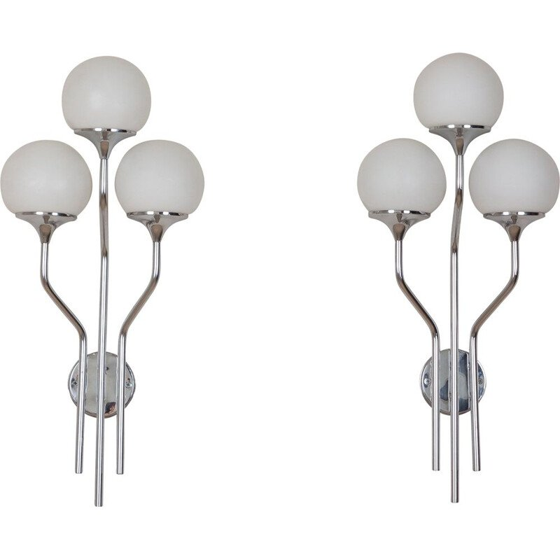 Pair of large vintage chrome plated sconces wall lights Goffredo Reggiani, Italy 1960s
