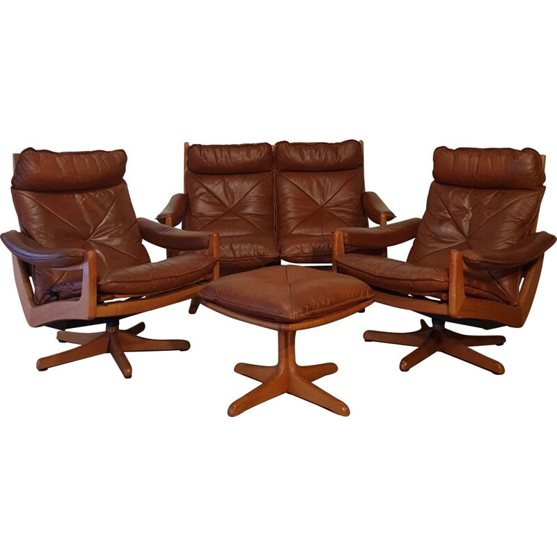 Salon Vintage De Soda Galvano Pour Lied Mobler - Teak &Scandinavian Leather 1960