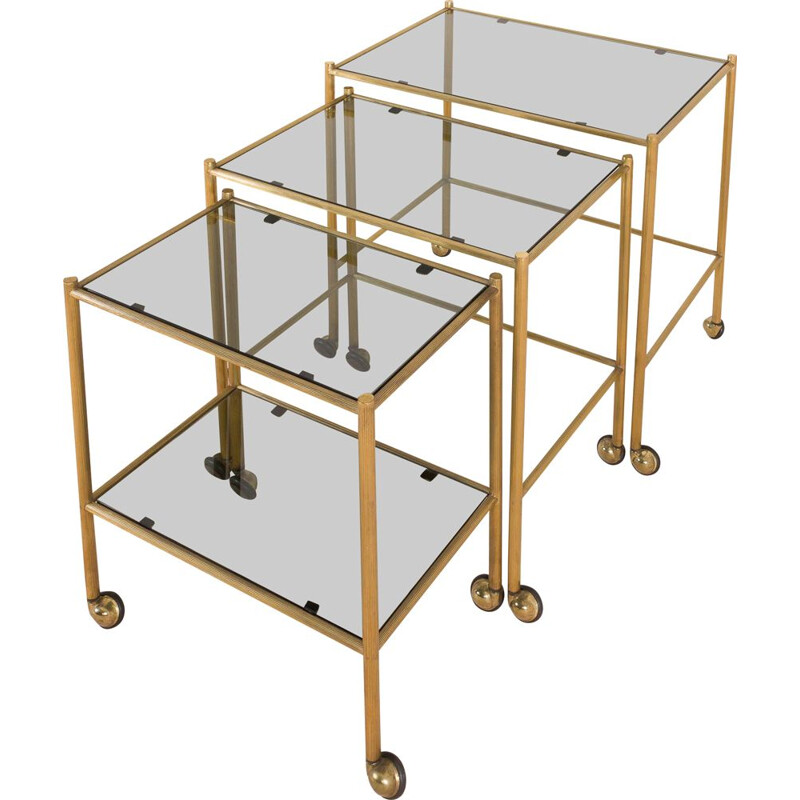 Vintage brass nesting tables on wheels, French 1960s