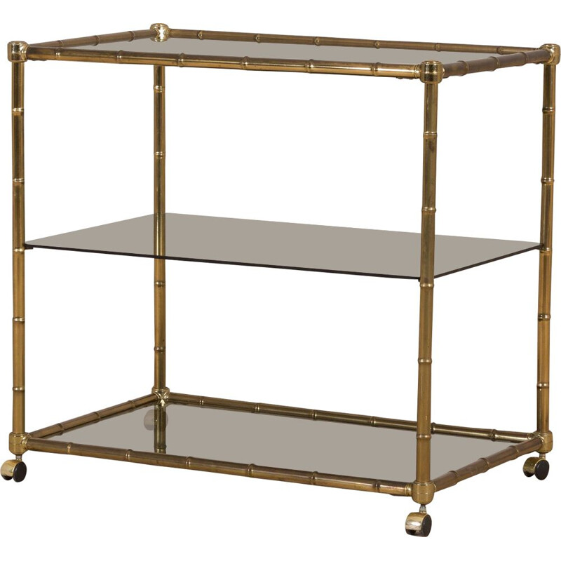 Vintage bar cart trolley with 3 shelves, faux bamboo brass Hollywood Regency Italy, 1970s