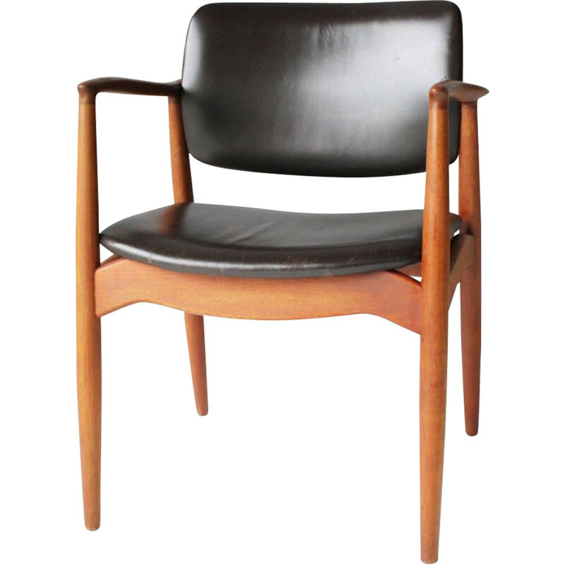Danish Teak and Leather Armchair • Model SJ 67 Captain's Chair by ERIK BUCH for Ørum Møbler - 1950s