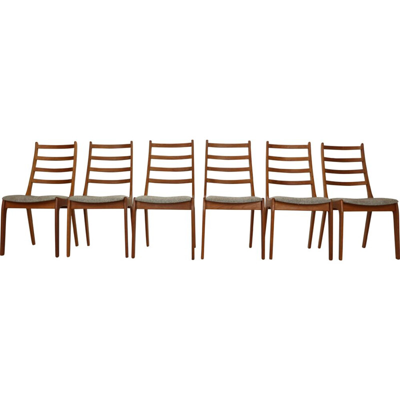 Set of 6 vintage Teak Ladder Dining Chairs Kai Kristiansen Denmark, 1960s