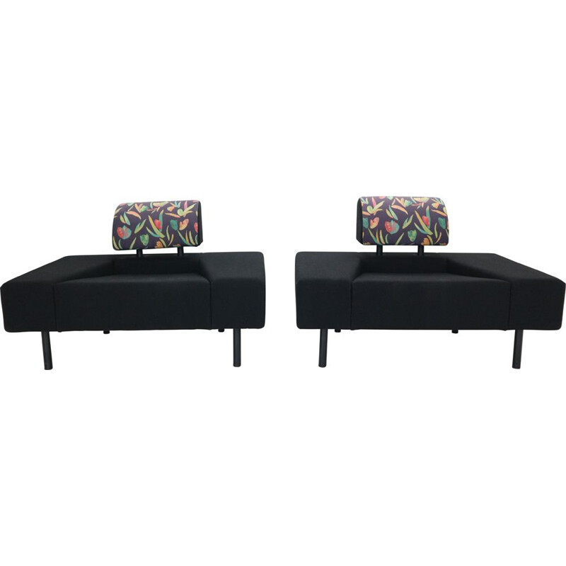 Pair of vintage Pouffe Garni Lounge Chairs by Rob Eckhardt For Pastoe Dutch 1986