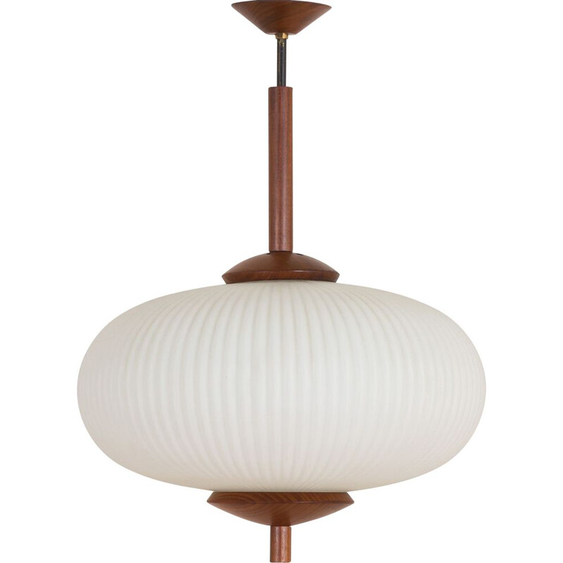 Large vintage ribbed opaline glass and teak pendant lamp of Louis Kalff, 1960s