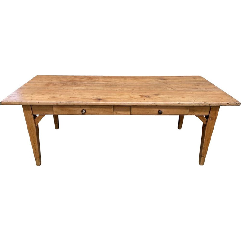 Vintage farm dining table for 810 people in solid wood with 2 drawers 1930