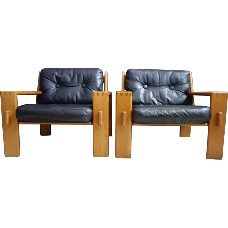 Pair of vintage chairs by Esko Pajamies in Leather and Oak model Bonanza 1960s
