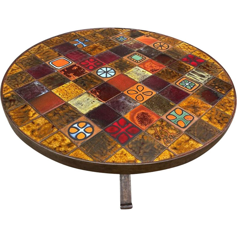 Vintage round ceramic and wrought iron coffee table from Roche Bobois 1970