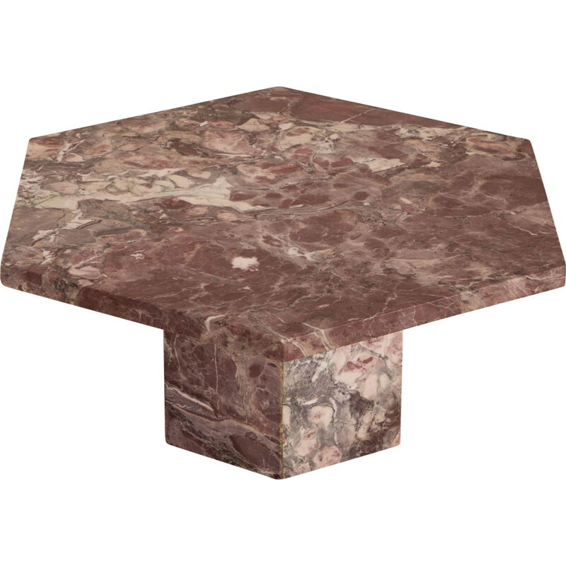 Mid century  pink marble hexagonal coffee table Italian 1980
