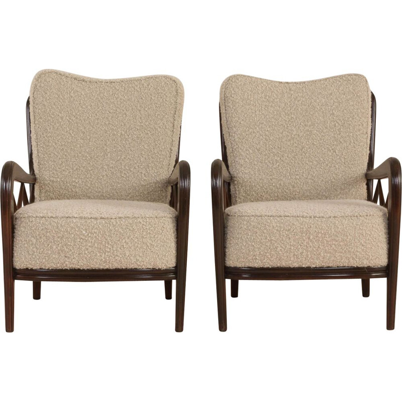 Pair of Vintage Buffa lounge chairs Paolo in alapaca boucle wool upholstery