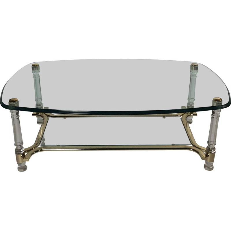 Vintage oval coffee table with smoked and bevelled glass top, plexi and gilded metal legs, 1980s