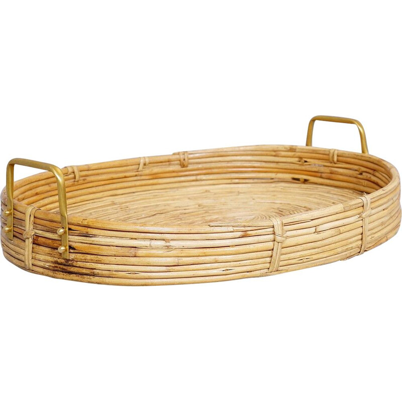 Vintage oval curved rattan serving tray with brass handles