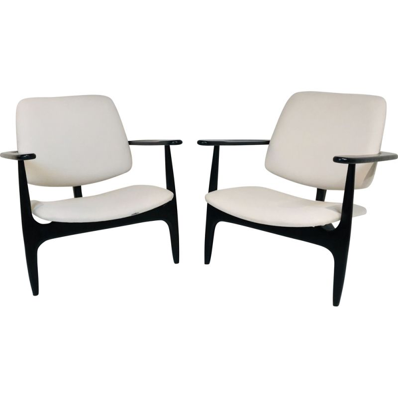 Pair of Vintage S3 Armchairs by Alfred Hendrickx for Belform, Brussels, 1958