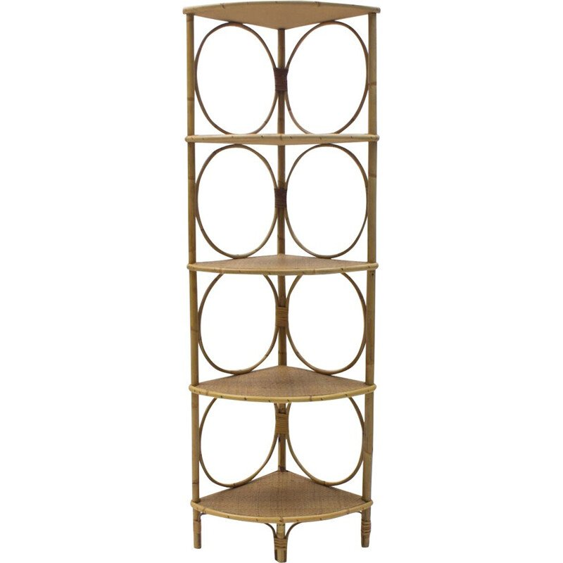 Vintage Bamboo and Wicker Corner Shelf, Italy, 1950s
