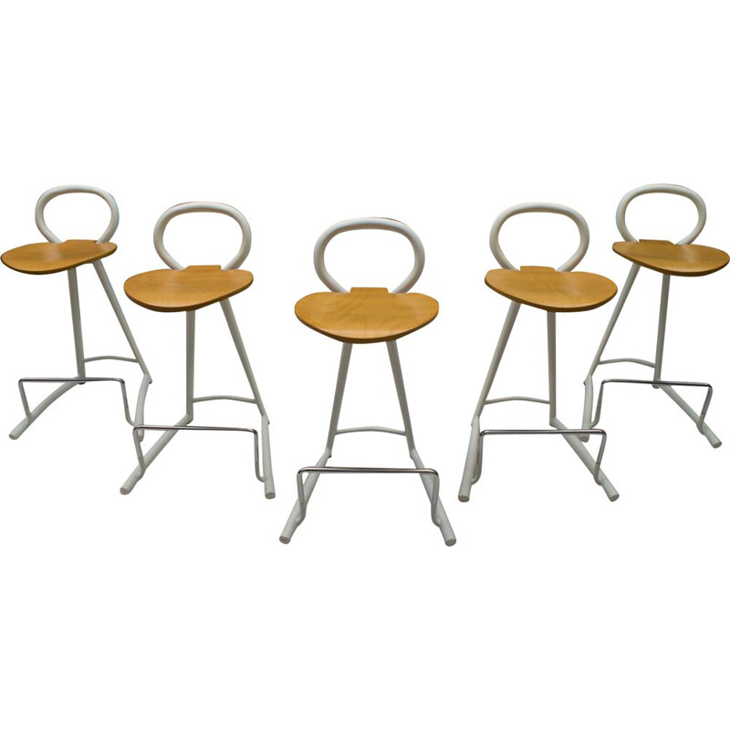 set of 5 Vintage Metal and Wood Bar Stools with Footrests, 1980s