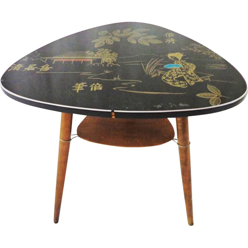Vintage coffee table with a Japanese motif on the tabletop, 1950