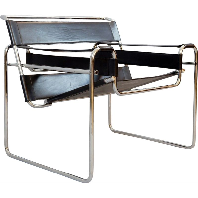 Vintage B3 Wassily Black Leather Chair By Marcel Breuer Gavina, Italy