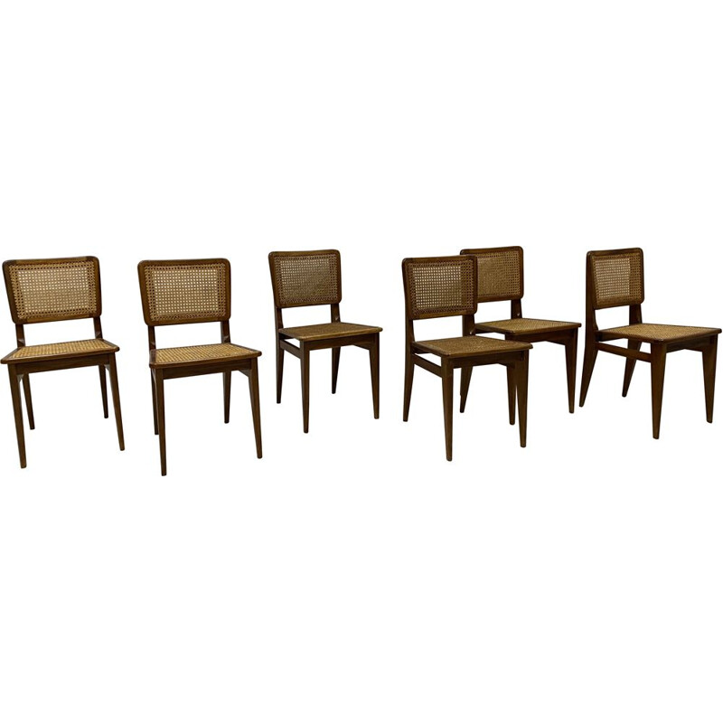 Set of 6 vintage cane chairs 1950